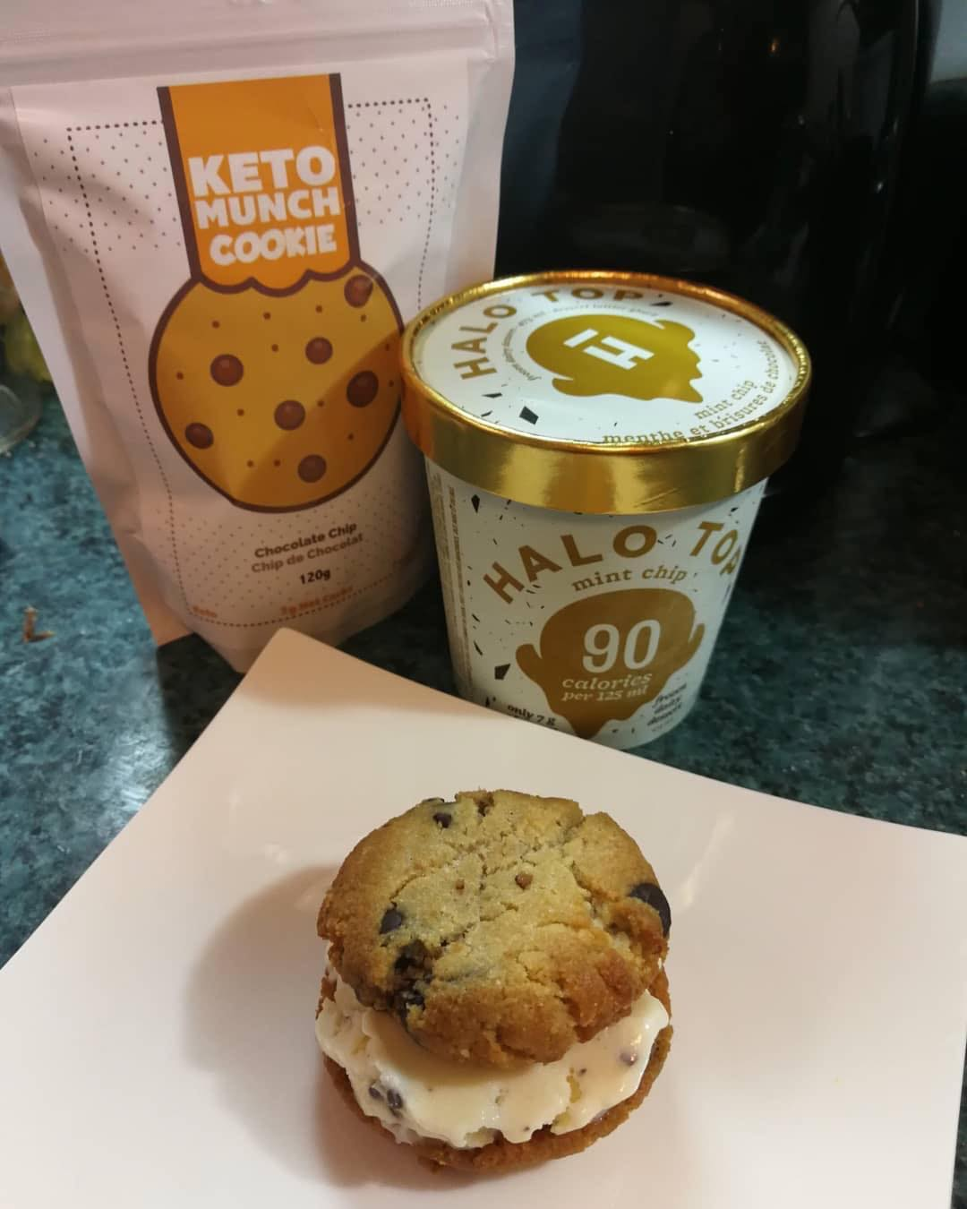 OMG I need this in my life! It's been a while since I've made my ice cream and I think I need to make some new flavors and ice cream sandwiches!! —— Repost @thriving.on.low.carb ・・・ Ohhhhhh yeahhhhh. 😋 —- Talk about great timing! I received my @ketobakeclub box yesterday and I was happy to see a bag of @ketomunchfoods cookies in there. 😄 —- I couldn't resist making a Halo Top Mint Chip Keto Munch Cookie ice cream sandwich. 👅 I used 1/4 cup of the Mint Chip.  I think it's been a while since having HT, I thought it was richer and creamier. (Though my fave is Red Velvet and I need to get.) I tried a spoon of the Birthday cake flavour and liked that better. I'll have to try that for my next sandwich 😄 —- Curious about the macros on this? — 265 calories 21.5g Fat 6.5g Protein  5.5g Net Carb —- I think next time I'll make these up beforehand and freeze. Perfect for summer